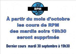 Attention RPM les mardis soirs supprimés