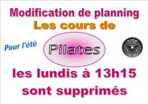 Cours de Pilates supprimés